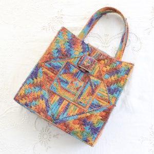 3/$25 🌑 70s Vtg Woven Tote Bag Rainbow